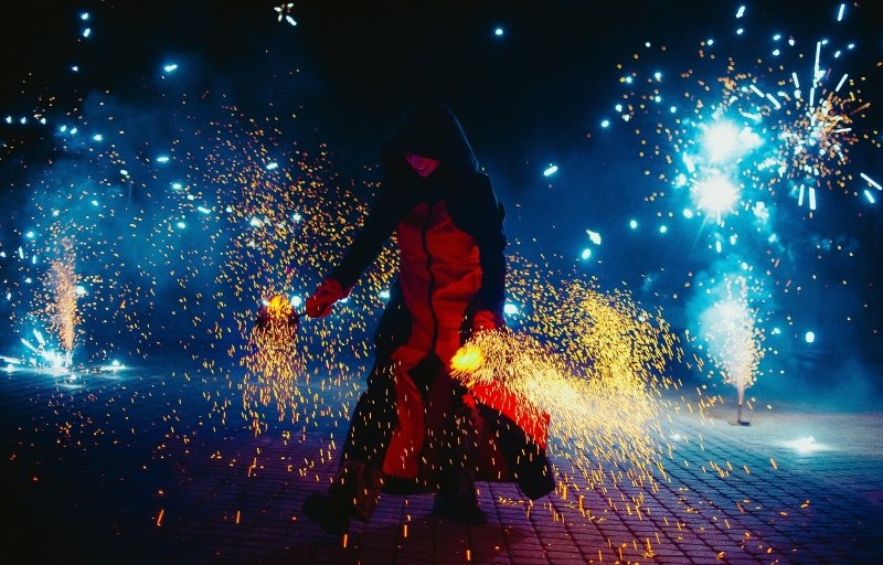 fire show with pyrotechnic in festival