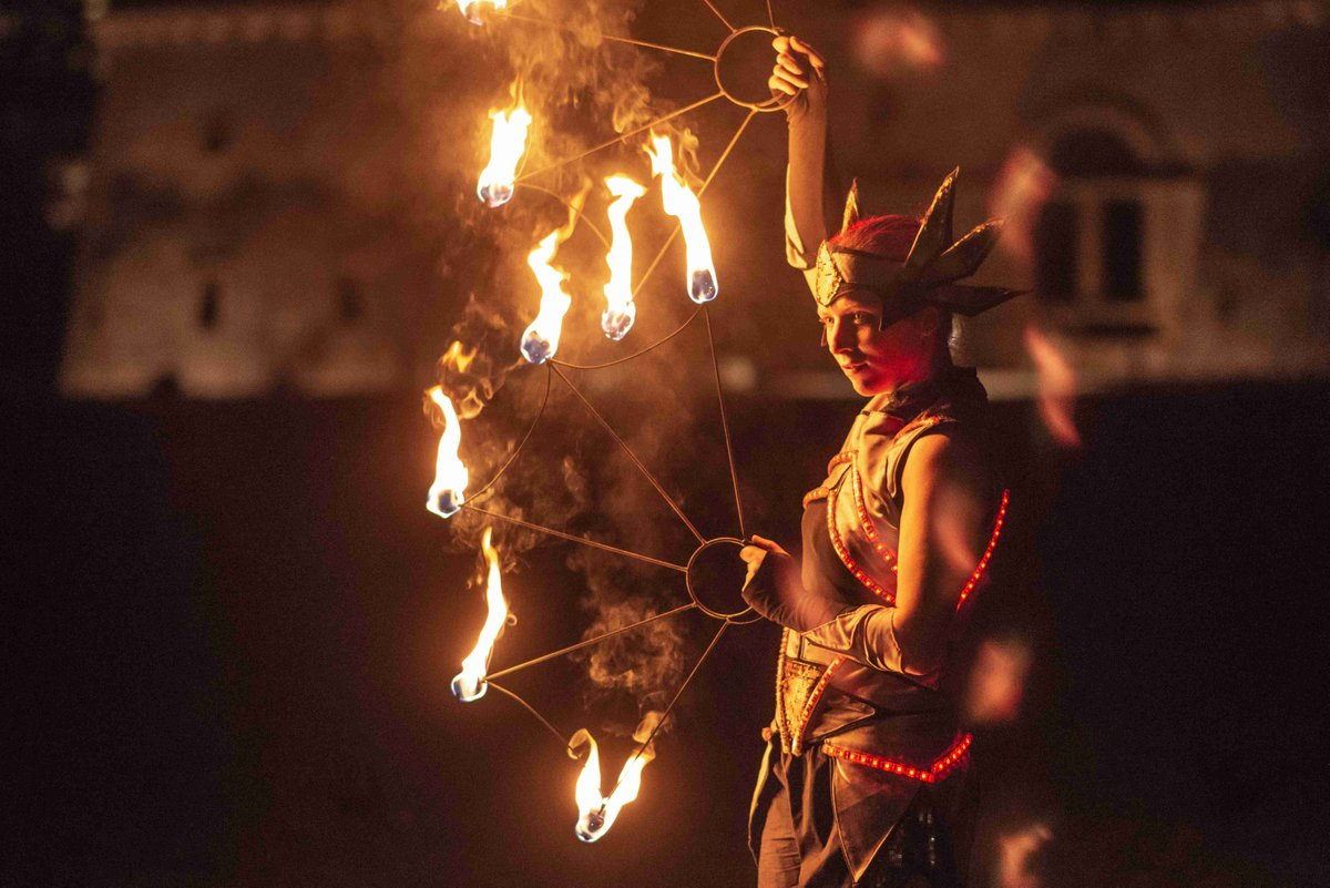 fire show in led costume