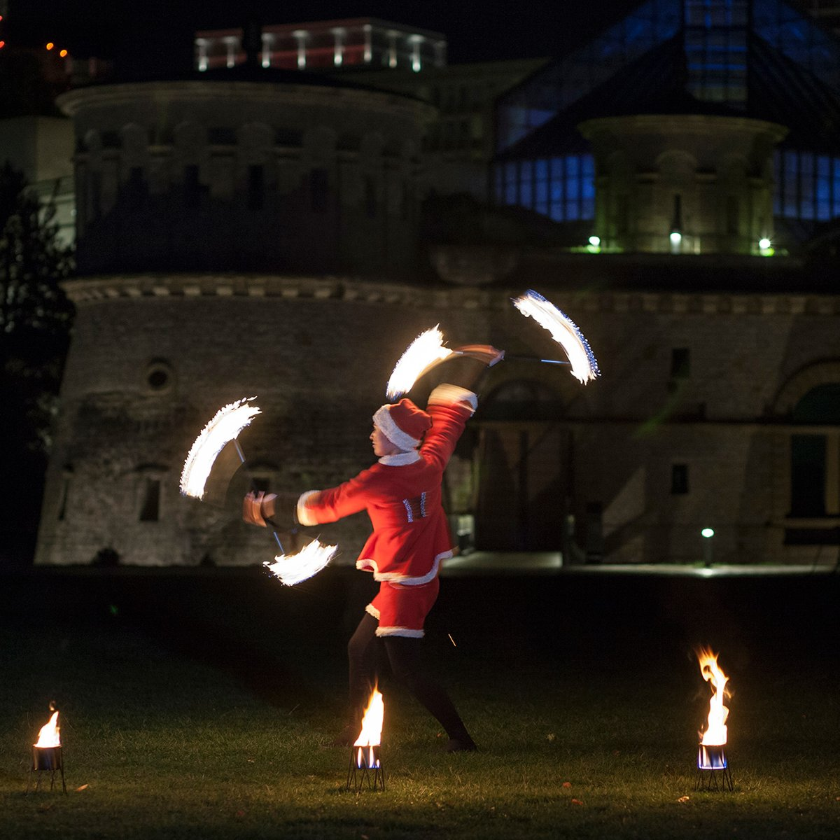 fire show in new year costume