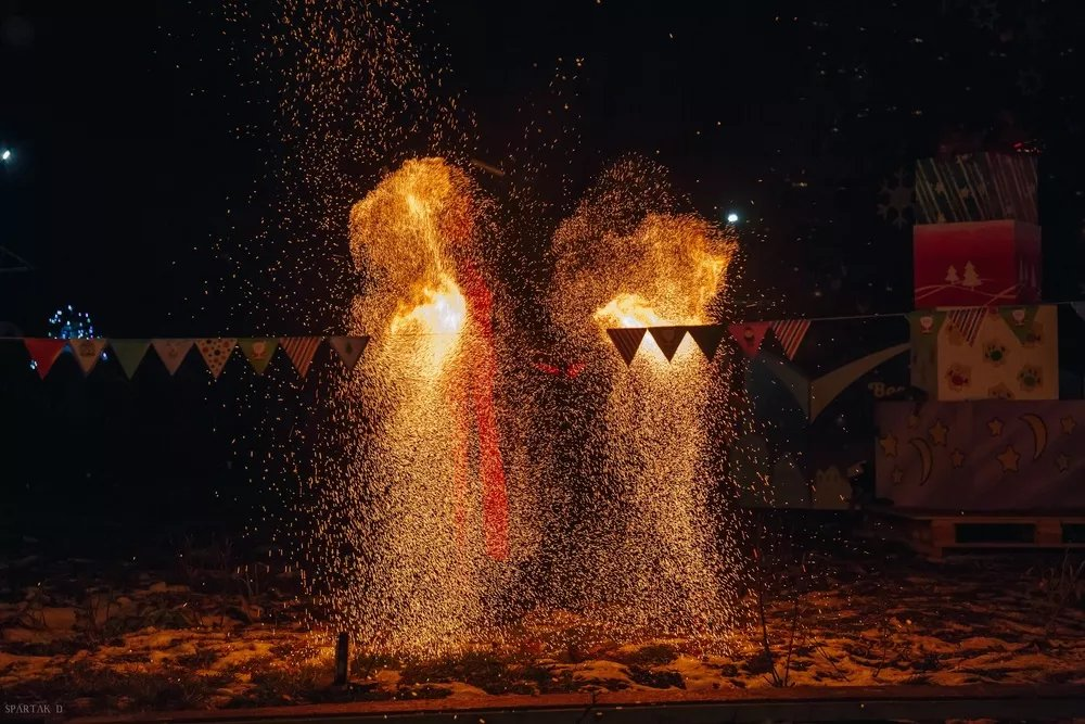 fire show on new year party