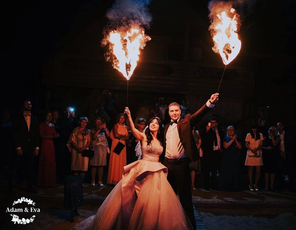 Addam and Eva wedding fire show Luxembourg