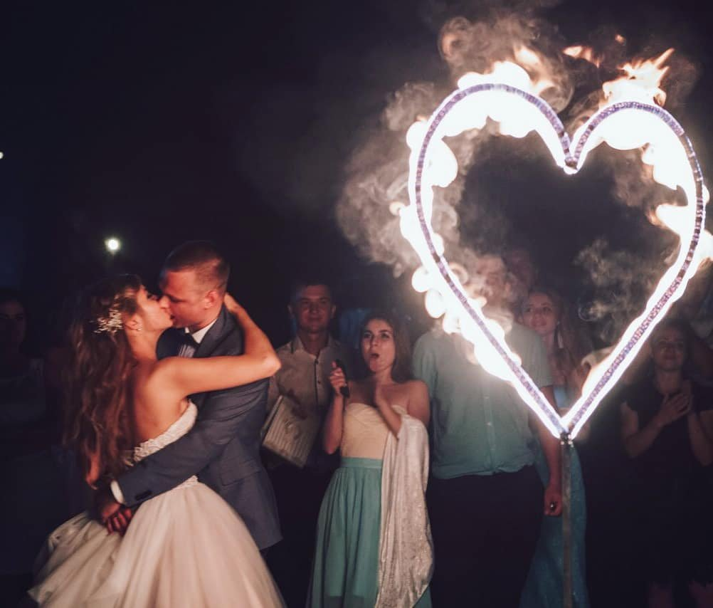 Fire show for wedding flame heart