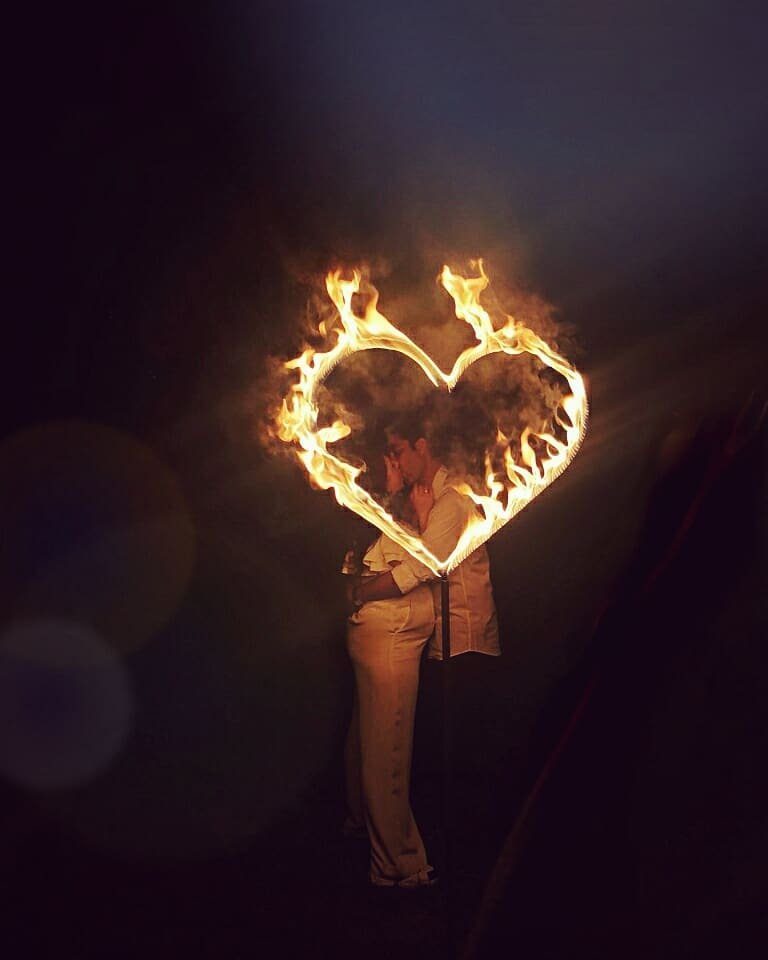 Flaming heart for beautiful couple wedding