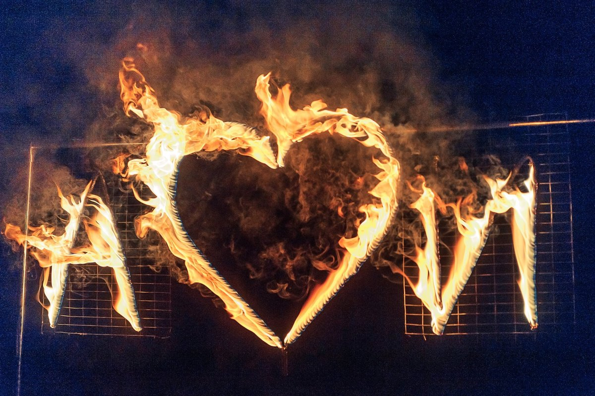 fire show lettering and fire heart