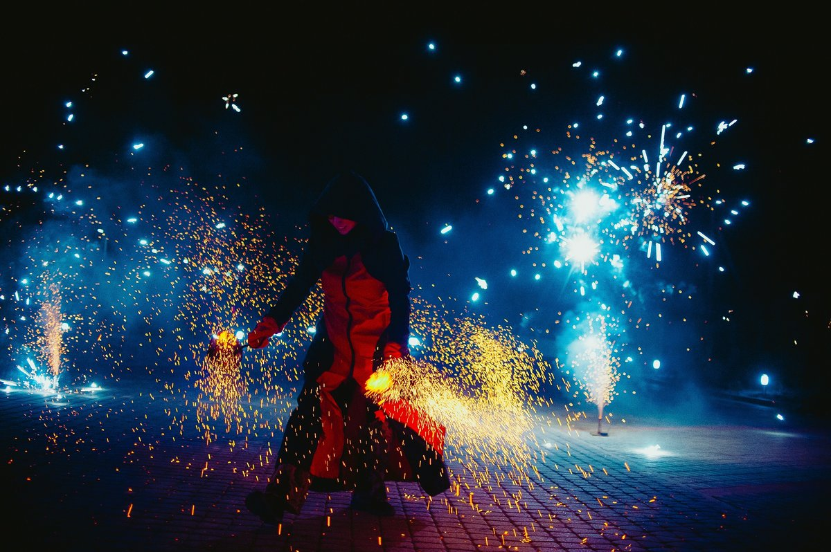 Pyrotechnics and fire show on wedding party